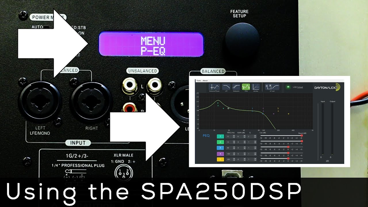 Using the DSP on the Dayton Audio SPA250DSP Plate Amplifier