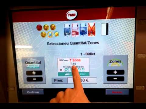Barcelona,Spain metro  buying tickets from automated vending