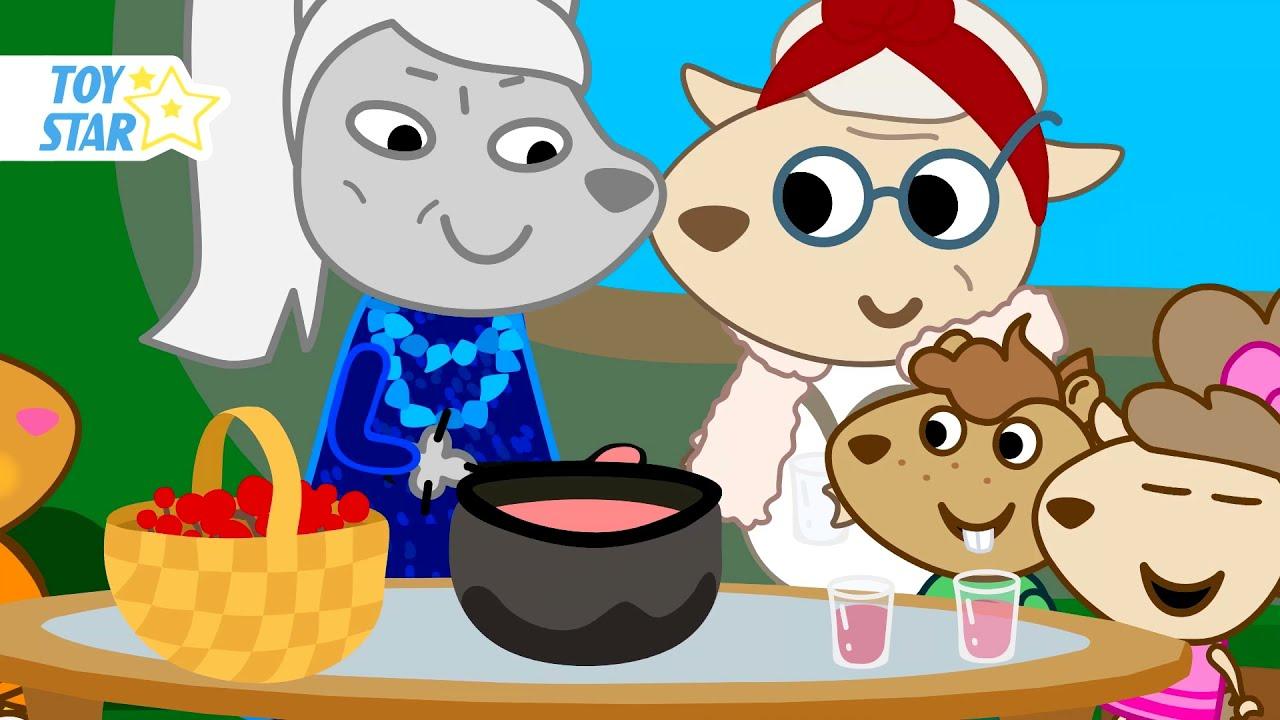 Grandmothers Pamper Granddaughters. Funny Cartoon for Kids