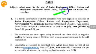 JKSSB Admit cards for Junior Employment  Officer