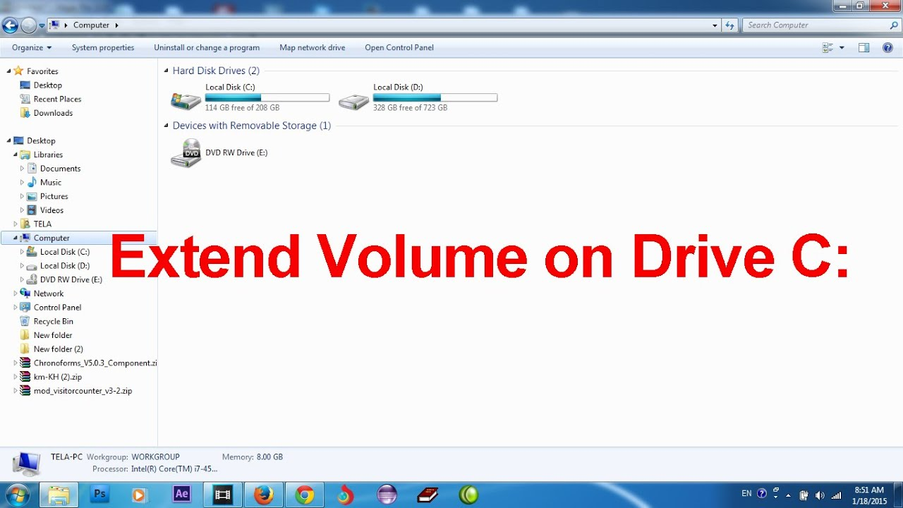 Extend volume on drive C or D , Resize space on drive C or D
