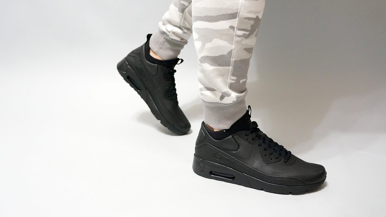 lowest price 30875 c2708 Nike Air Max 90 Ultra Mid Winter Black on feet