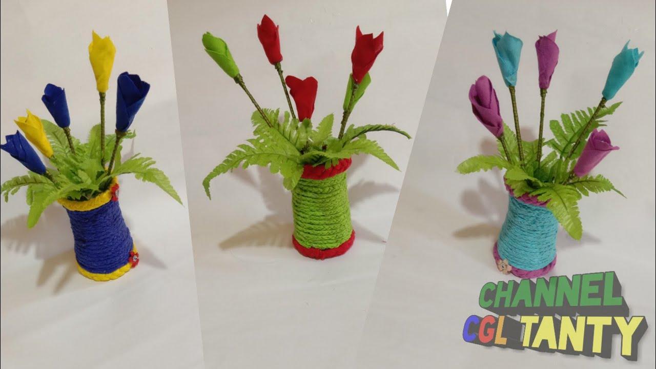 Kerajinan Tangan Bunga Tulip Dari Kain Perca Vas Bunga Dari Kain Perca 33 Youtube