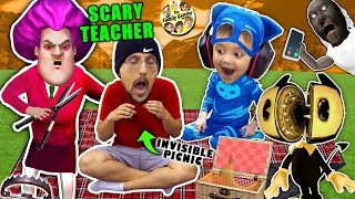 SCARY TEACHER GAME \u0026 the Invisible Picnic! FGTEEV finishes Bendy and the Ink Machine Chapter 5