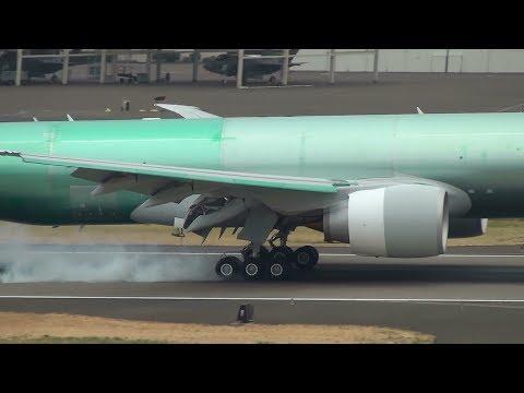 Unpainted 777F [N5017V] (A7-BFO) Landing Portland Airport