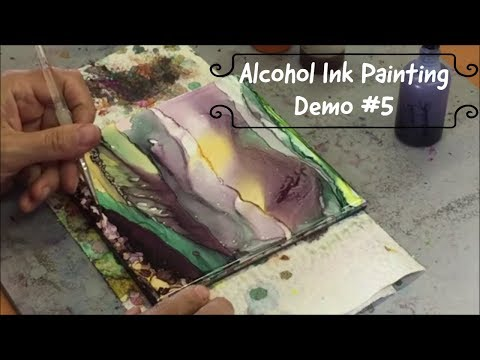 #5 Alcohol Ink Abstract/Landscape Painting Demo on tile – kristarobertsonart