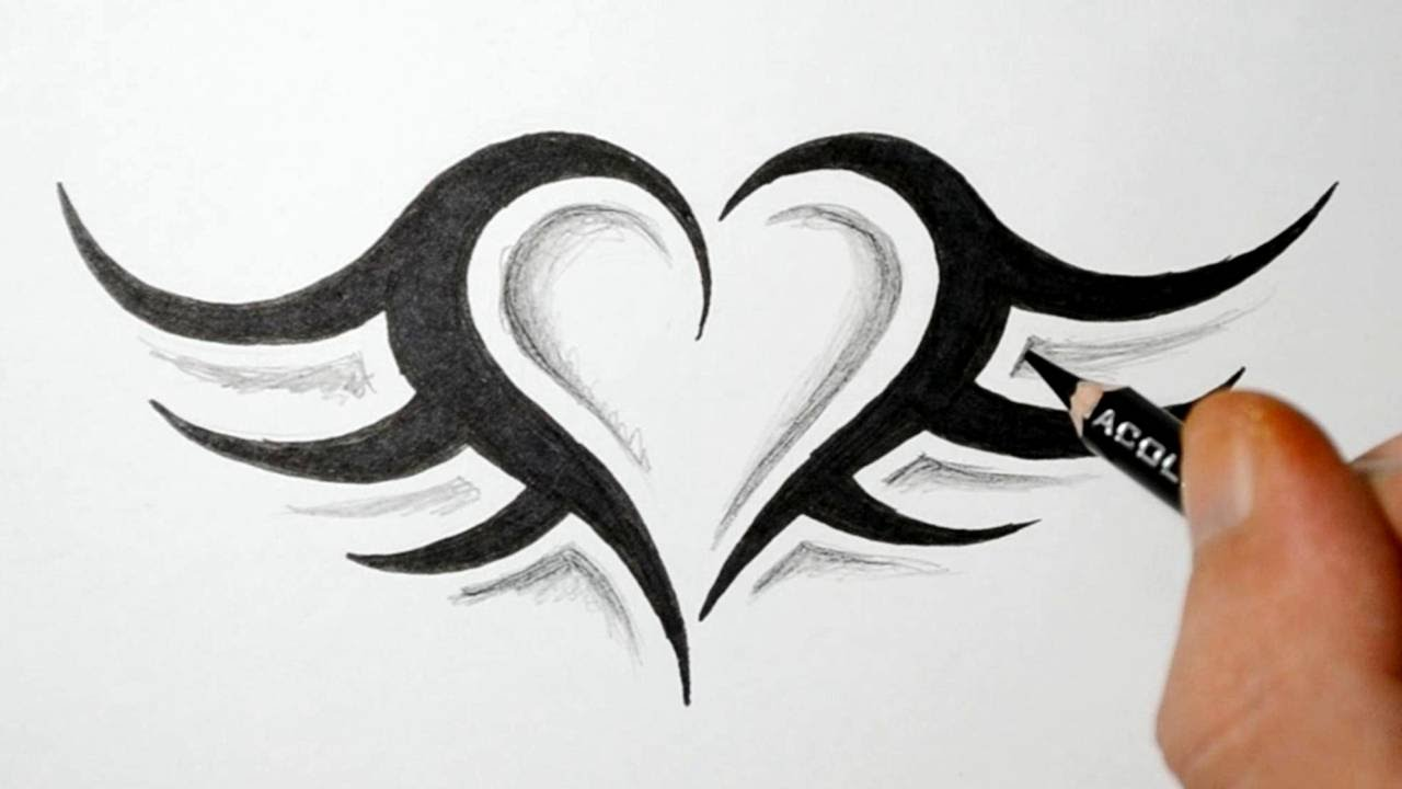 a497b51ea How to Draw a Simple Tribal Heart Tattoo with Wings - YouTube