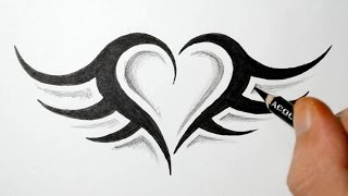 tattoo heart simple designs tribal tattoos drawings easy drawing sketches step draw wings paintingvalley clipart