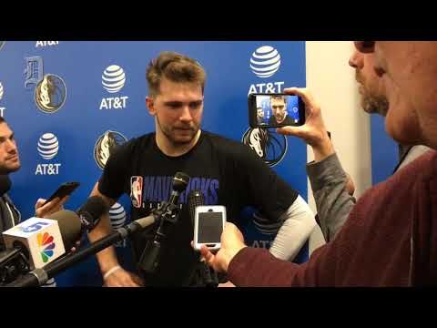 Dallas Mavericks' Luka Doncic talks to the media