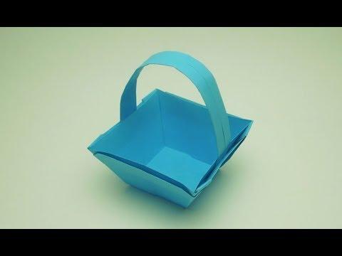 Как сделать корзинку из бумаги  Оригами корзина