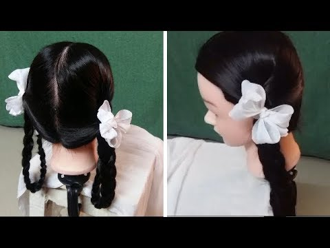 How To Make Two Plaits For School Girls With Ribbon Indian Village Hairstyles