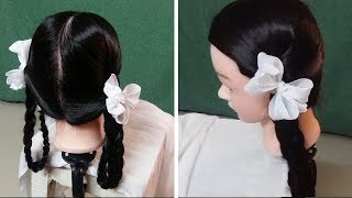 HOW TO MAKE TWO PLAITS FOR SCHOOL GIRLS WITH RIBBON Indian Village ...