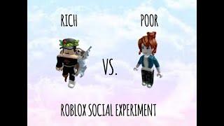 RICH VS. POOR | ROBLOX SOCIAL EXPERIMENT