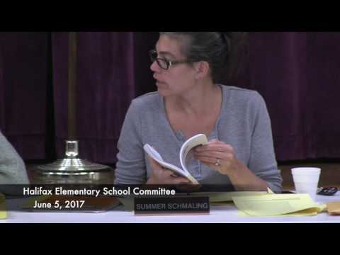 Halifax Elementary School Committee Meeting 6 5 17