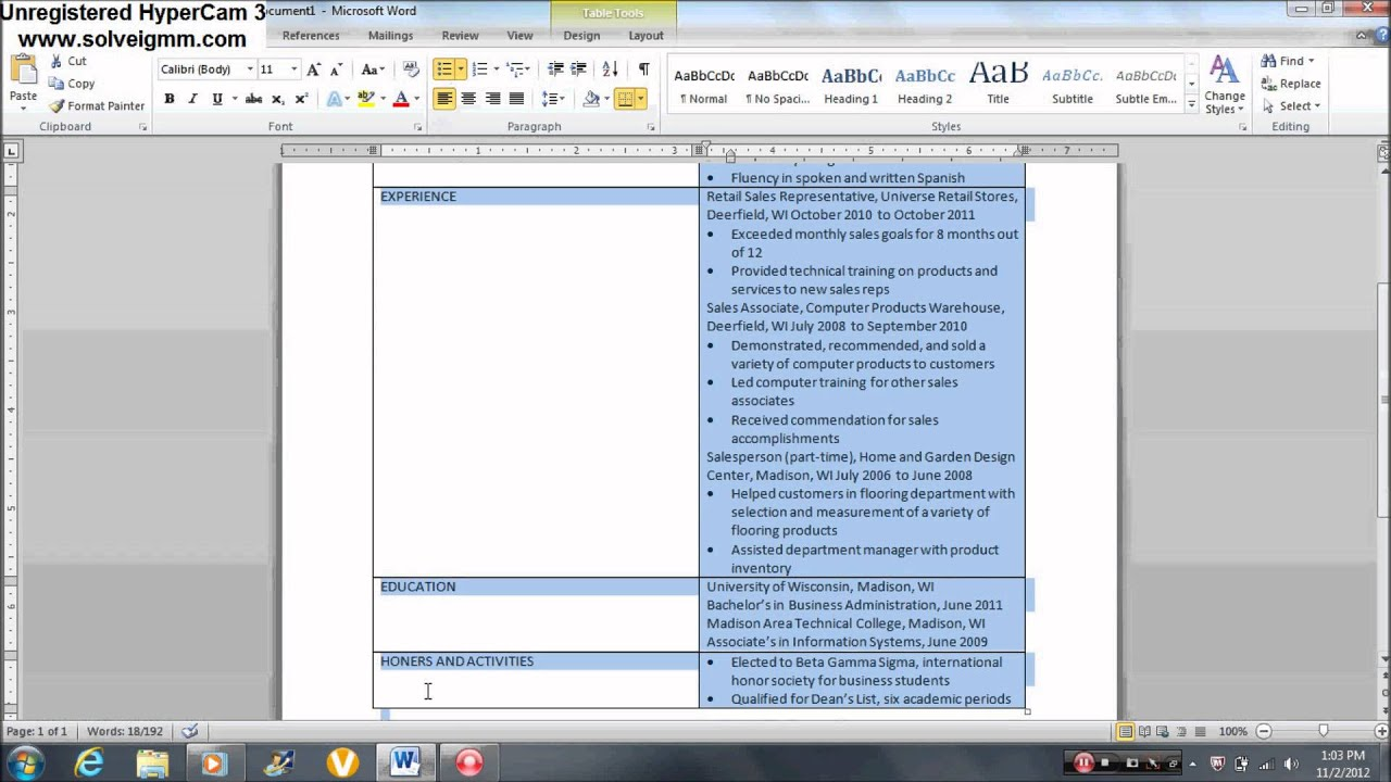 how to make a resume with a table part microsoft word