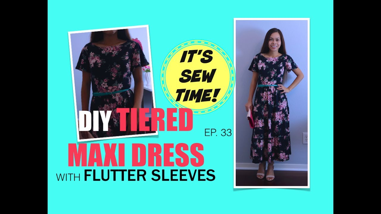 Howto diy tiered maxi dress with flutter sleeves youtube howto diy tiered maxi dress with flutter sleeves sew aldo jeuxipadfo Images