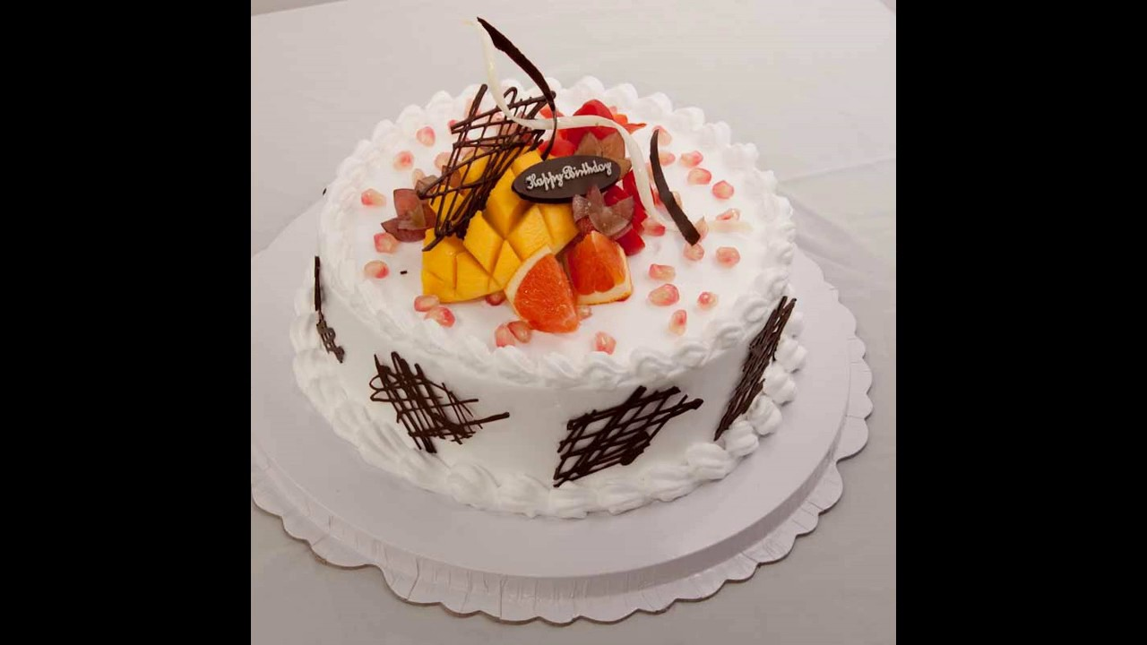 Easy Birthday Cake With Fruit Decoration Youtube