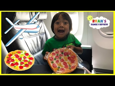 Thumbnail: Gummy Pizza Candy Challenge Kid on the Airplane + Toy Hunt Swimming Pool with Ryan's Family Review