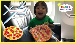 Gummy Pizza Candy Challenge Kid on the Airplane + Toy Hunt Swimming Pool with Ryan's Family Review