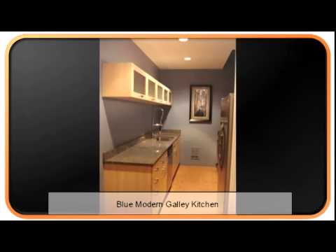 Blue Modern Galley Kitchen