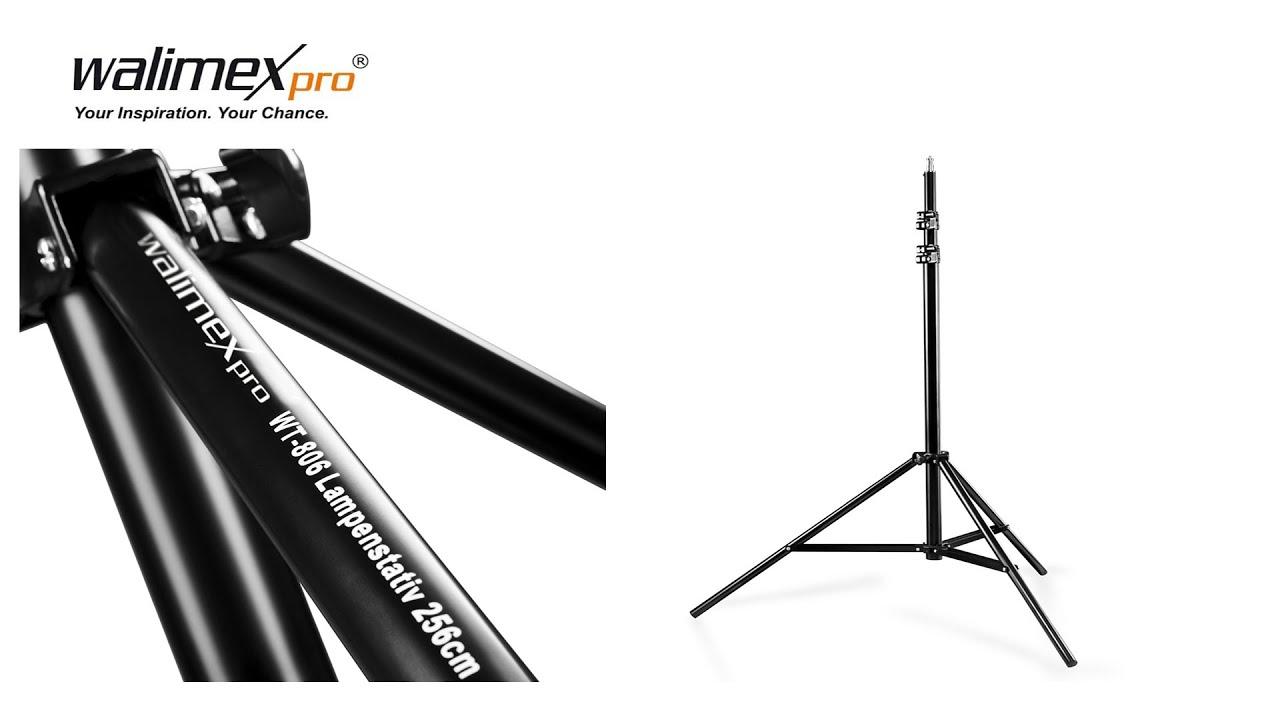 walimex wt 806  Walimex Pro WT-806 Lampenstativ mit Federdämpfung 98-256 cm - YouTube