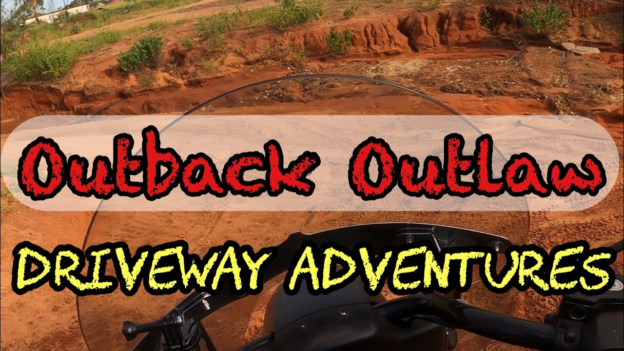 Outback Outlaw Driveway Adventures, riding the bike out the driveway before the next rains.