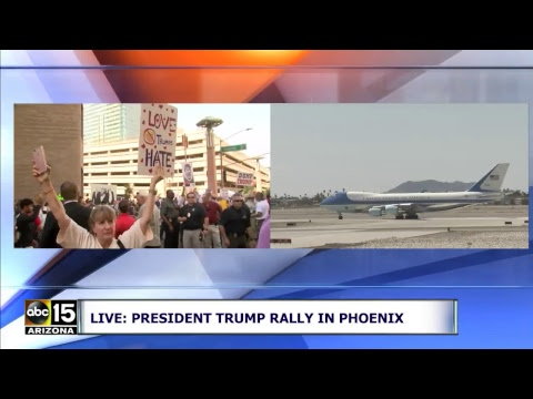 Download FULL: President Trump boards Air Force One in Yuma, Arizona before speaking at Phoenix Rally