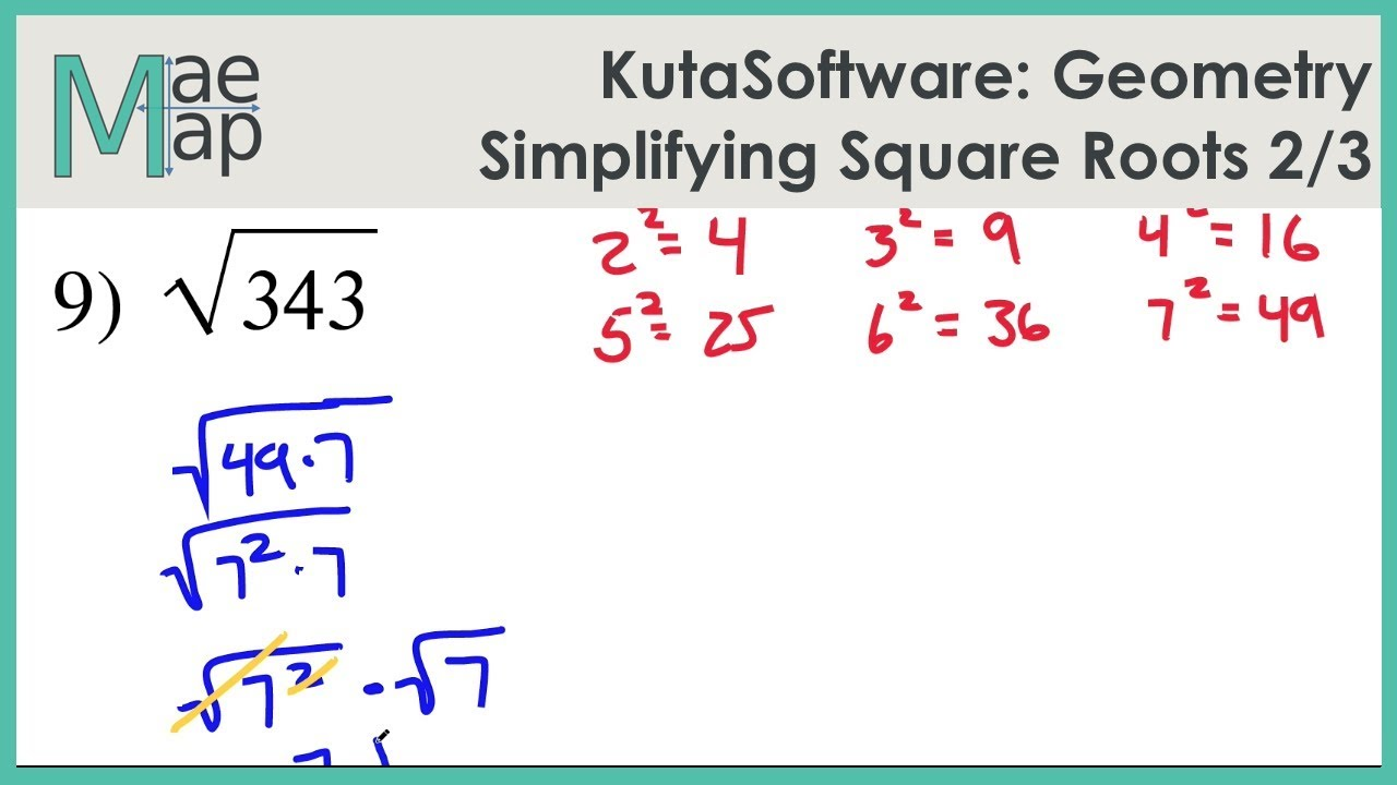Kuta Worksheet Simplifying Square Roots - Rcnschool