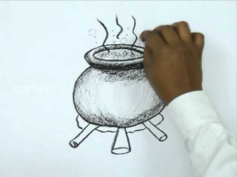 How To Draw A Halloween Pot Youtube