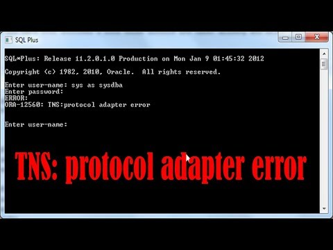 tns protocol adapter error in oracle