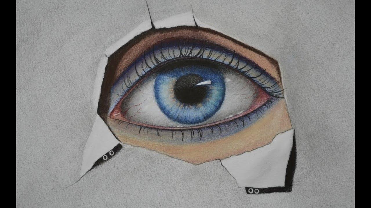 C mo dibujar un ojo con l pices de colores y pastel arte for Como pintar un ojo