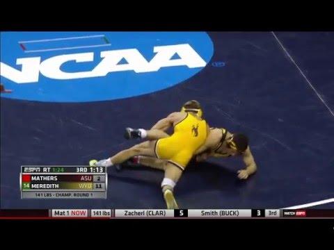 2016 NCAA Wrestling 141lbs: Bryce Meredith vs Robbie Mathers