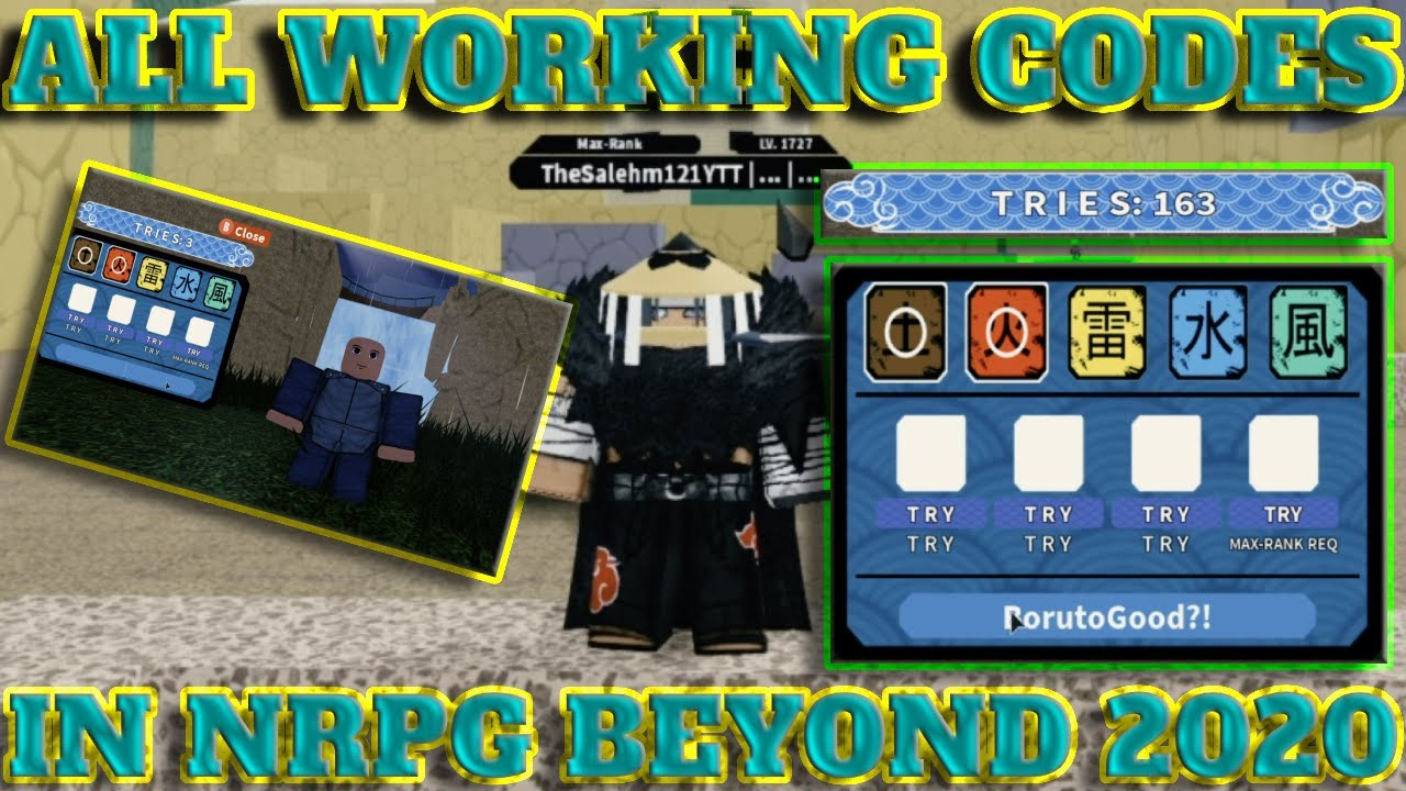 Beyond Codes Roblox New Beta New Code Update Free Codes 160 Free Tries Spins All Working Codes In Beyond Roblox Nrpg Beyond Youtube
