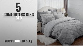 Top 10 Comforters King Bed [2018]: Pinch Pleat Down Alternative 8 Piece Comforter Set King Size