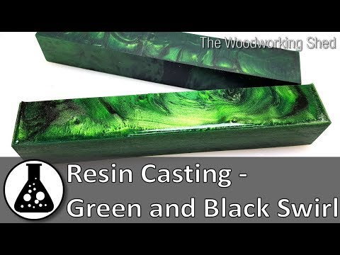 Resin Casting - Green and Black Swirl