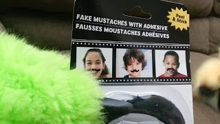 Fake Mustaches For Kids! - Sticky Dollarstore Novelty Adhesive Stickyness | 2 Furries On A Couch