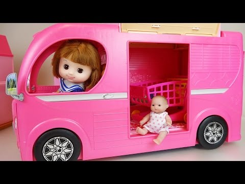 Thumbnail: Pink Camping BUS and Baby doll toys picnic play
