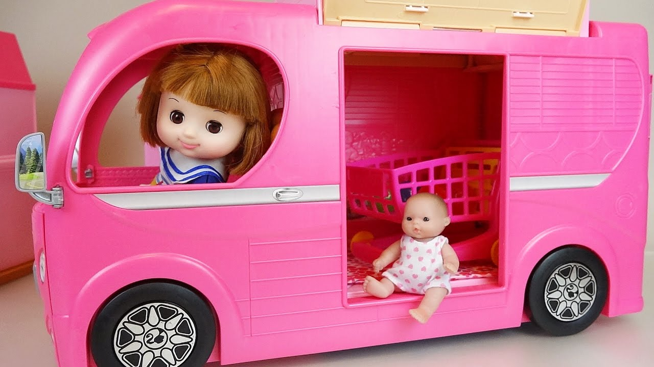 Pink Camping BUS and Baby doll toys picnic play - YouTube