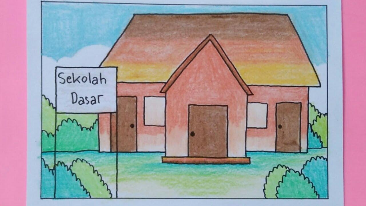 Cara Menggambar Sekolah Untuk Anak Anak SD