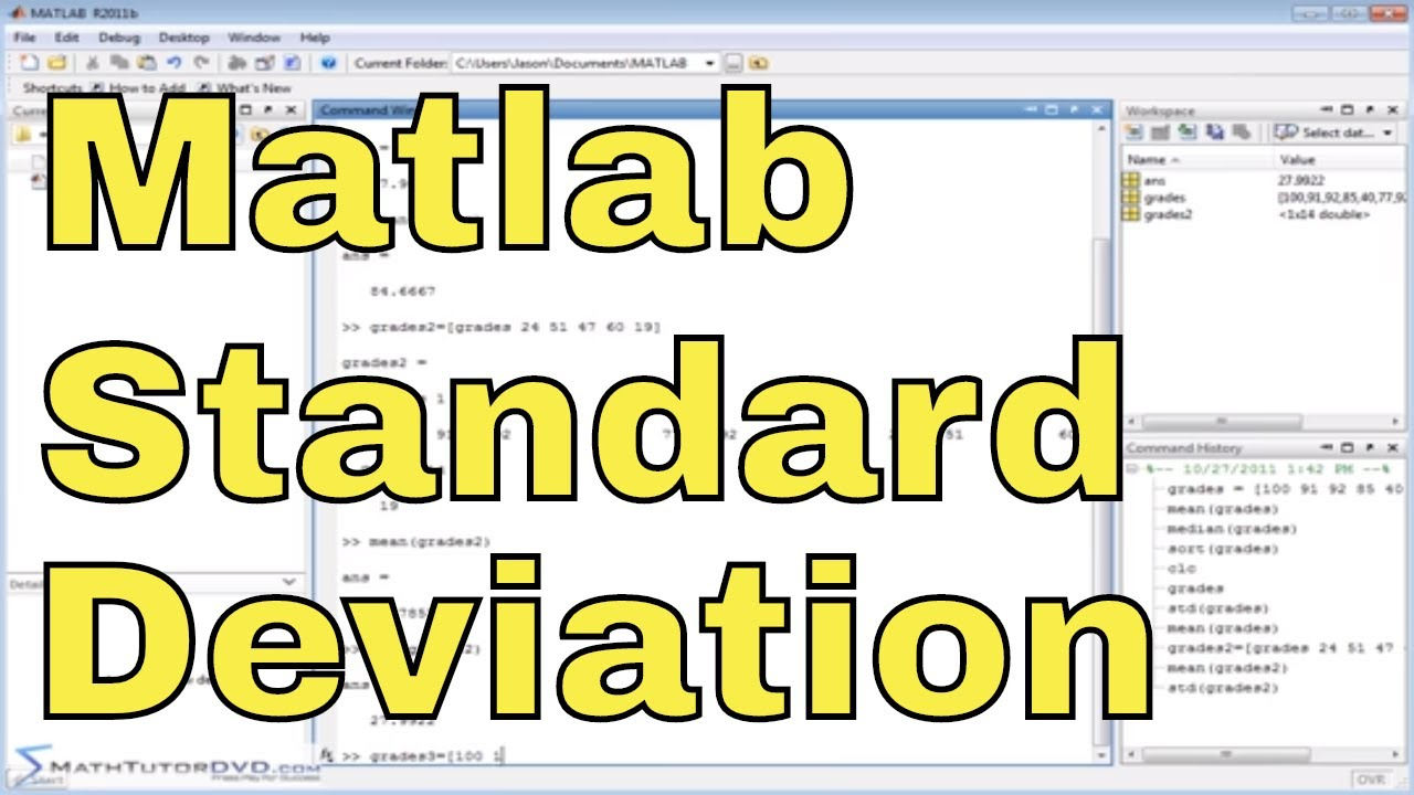Matlab Tutorial - 33 - Calculating Mean, Median, and Standard Deviation of  Data in a Vector