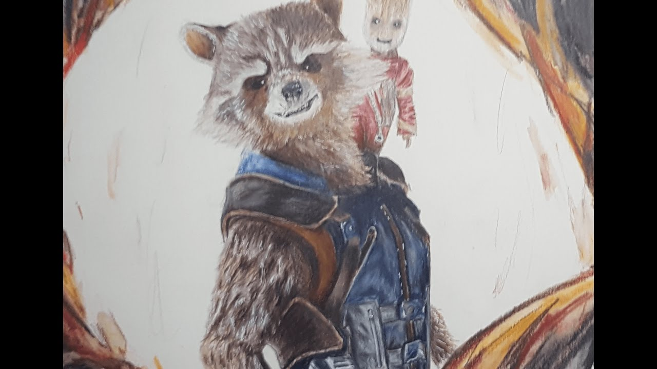 Speed Drawing Rocket Raccoon And Groot Youtube