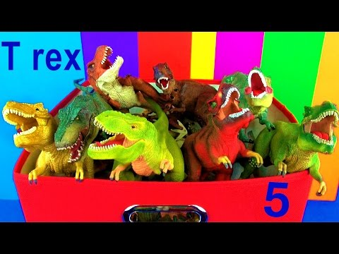 DINOSAUR Box 5 TOY COLLECTION TYRANNOSAURUS REX Jurassic World T rex Toy Review  SuperFunReviews