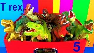DINOSAUR Box 5 TOY COLLECTION TYRANNOSAURUS REX Jurassic World T rex Toy Review  SuperFunReviews