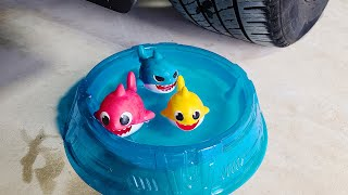 EXPERIMENT: Car vs Baby Shark family - Crushing Crunchy & Soft Things by Car!