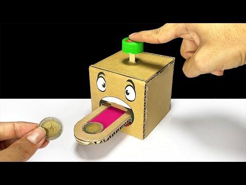 DIY Cion Box Bank From Cardboard | ออมสินกดเหรียญไหลเข้ากล่อง