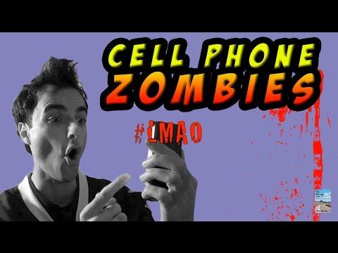 Cell Phone Zombie Walking Dead of Selfie Hashtag Social Media! #selfie