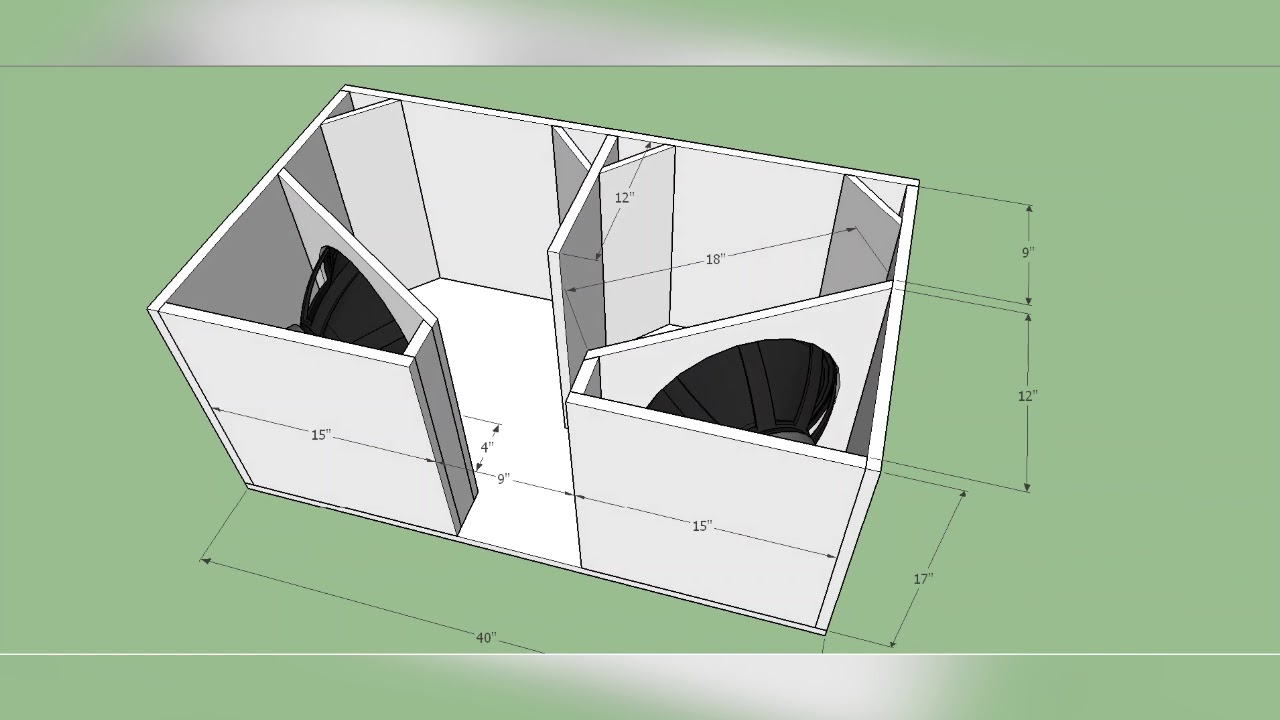 Box Plan Professional 4th Order Bandpass Bass Dual 15inch Subwoofer