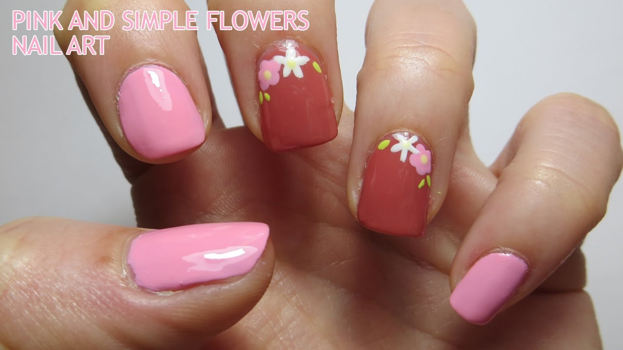 Simple Nail Art simple nail art flowers : Pink and Simple Flowers Nail Art - YouTube