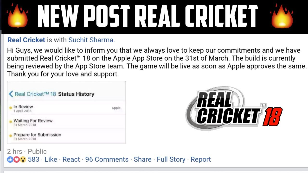 New Post Real Cricket 18 !! Ready To Lauch For iOS