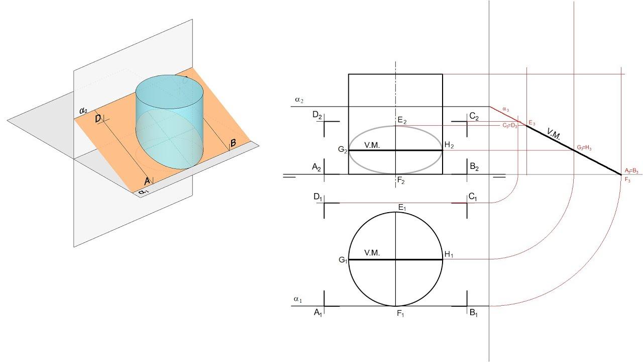 EvAU Madrid Julio 2020 - Sección de un cilindro por un plano paralelo a LT en Sistema Diédrico